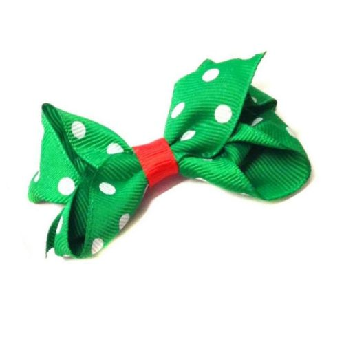 Green Spot Ribbon Bow Motif Spot Hair Beak Clip